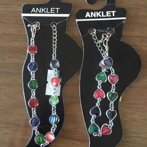 🛍set of two multicolored ankle bracelet